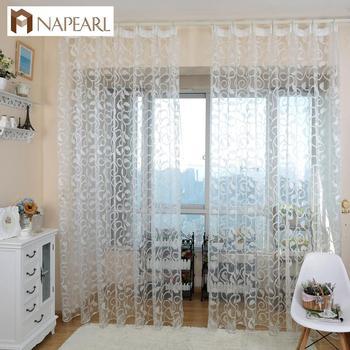 Жаккардовые шторы на окна NAPEARL, 1 шт., в американском стиле, с цветочным дизайном, прозрачные, для спальни, из тюля, для гостиной, современные, г...