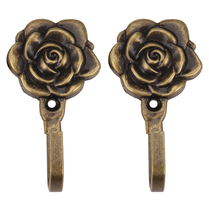 2Pcs Metal Rose Flower Curtain Tie Back Tieback Holders Wall Hooks Decor