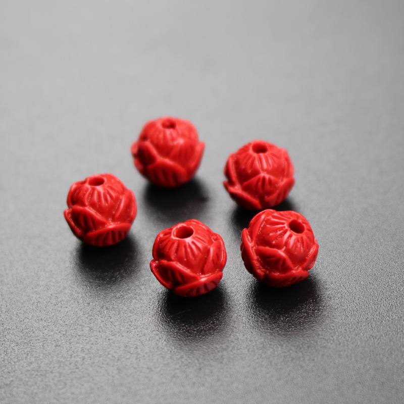 20 pçs 8,10,12mm cor vermelha corais artificiais contas esculpidas flor de lótus contas de moda para fazer jóias diy accessoires