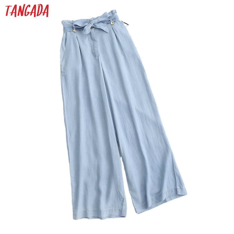 Tangada 2020 summer women wide leg jeans pants with belt long trousers strethy waist female pants 1D307