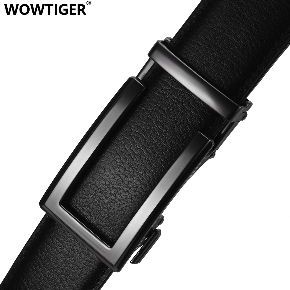 WOWTIGER 3.5cm Cow Genuine Leather Mens Belt Cowhide Strap For Male Ratchet Automatic Buckle Belts For Men  Brand Designer Belts