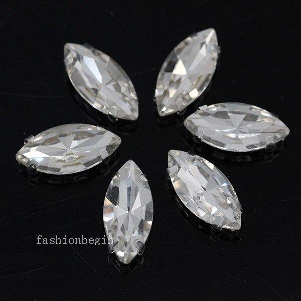 Всех размеров Наветт 24-цветное стекло камень с плоской задней частью, пришить с украшением в виде кристаллов Стразы драгоценные камни бисер с серебряной нитью, бледно-коготь кнопки для одежды аксессуары - Цвет: clear