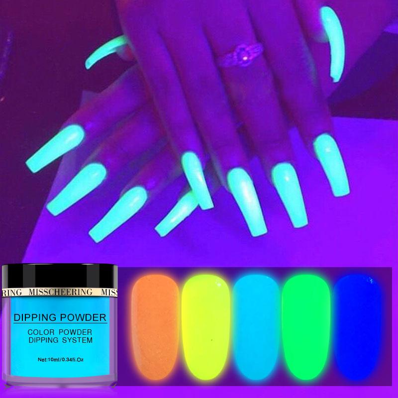 NEW 1 Box 10ml Luminous Dip Nail Powders Glow In Dark Dipping Glitter Decoration Long Last UV Gel Natural Dry NO Lamp Cure