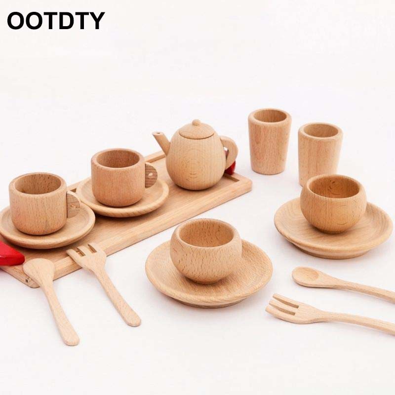 Wooden Tableware Tools Tea Pot Tea Cup Teatime Party Play Toy Dollhouse Miniature Kitchen Tableware Accessories For Kids Toy
