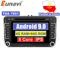 Eunavi 2 Din Android 9.0 Car Audio DVD Player Radio For VW GOLF 6 Polo Bora JETTA B6 PASSAT Tiguan SKODA OCTAVIA GPS Navigation