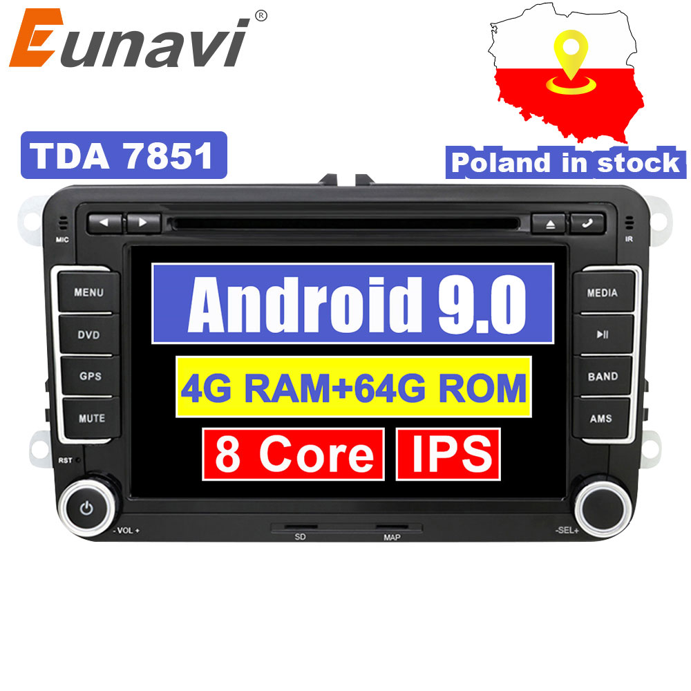Eunavi <font><b>2</b></font> <font><b>Din</b></font> Android 9.0 Car Audio DVD Player Radio For <font><b>VW</b></font> <font><b>GOLF</b></font> <font><b>6</b></font> Polo Bora JETTA B6 PASSAT Tiguan SKODA OCTAVIA GPS Navigation image