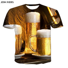 funny t shirts Summer 2019 mens clothing brand o-neck clock jacket beer short-sleeved 3d shirt digital printing T-shirt 6XL