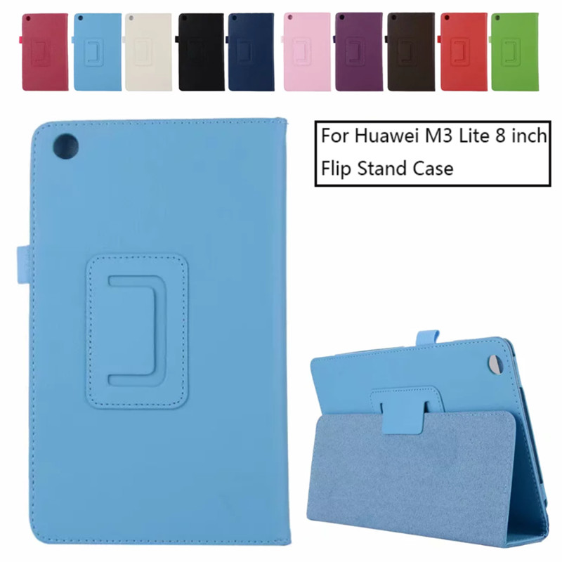 Huawei Mediapad M3 Lite 8.0'' Litchi Pattern Flip Leather Case Foldable Bracket Tablet Cover