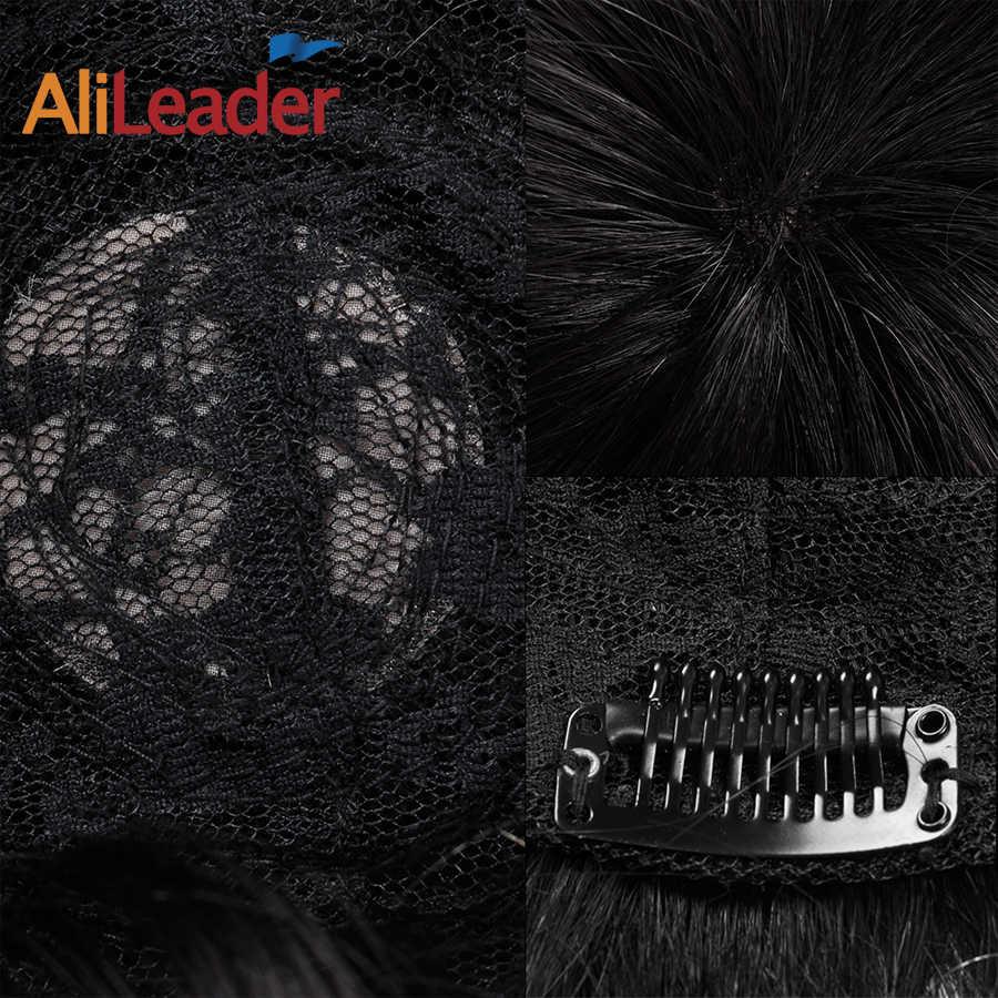 Alileader, nuevo estilo, económico, para hombres, prótesis de cabello con Clips, Color Natural, humano, piel fina, Topper, pelucas de cabello para hombre