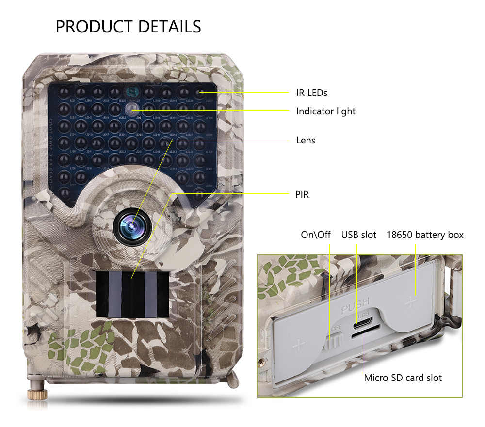 Cámara PR200 pista 49 piezas 940nm infrarrojo LED cámara de caza 12MP impermeable vida silvestre Video cámara noche foto Scouts trampa