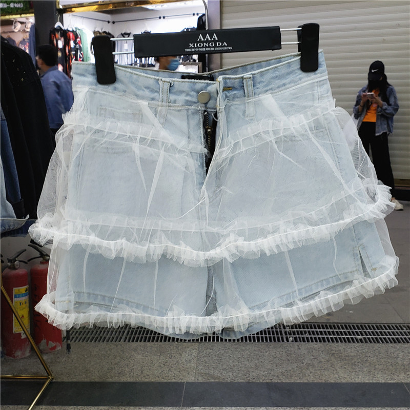 Dongdaemun South Korea 2020 Summer New Korean High Waist Mesh Stitching Denim Shorts Ce Super Fire Skirt Fashion