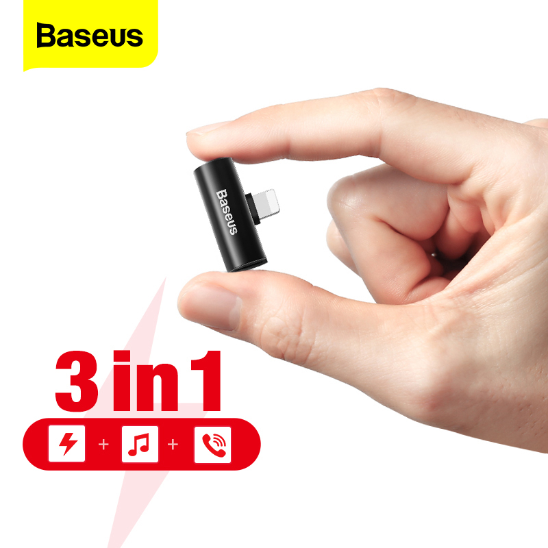 Baseus Audio Aux Adapter For IPhone Xs Max Xr X 8 7 Plus Earphone Headphone Connector OTG Cable For Lightning Splitter Converter