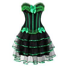 Women Sexy Striped Corset Dress Vintage Burlesque Bow Lace Corset Bustier Lingerie Top With Mesh Mini Skirt Set Plus Size