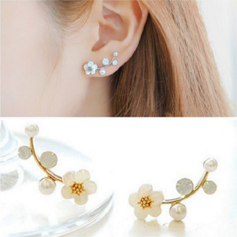 2020 Brincos Aretes South Korea The New Pearl Earring Contracted Flower Branches Earrings Fashionable Ol Female Temperament(China)