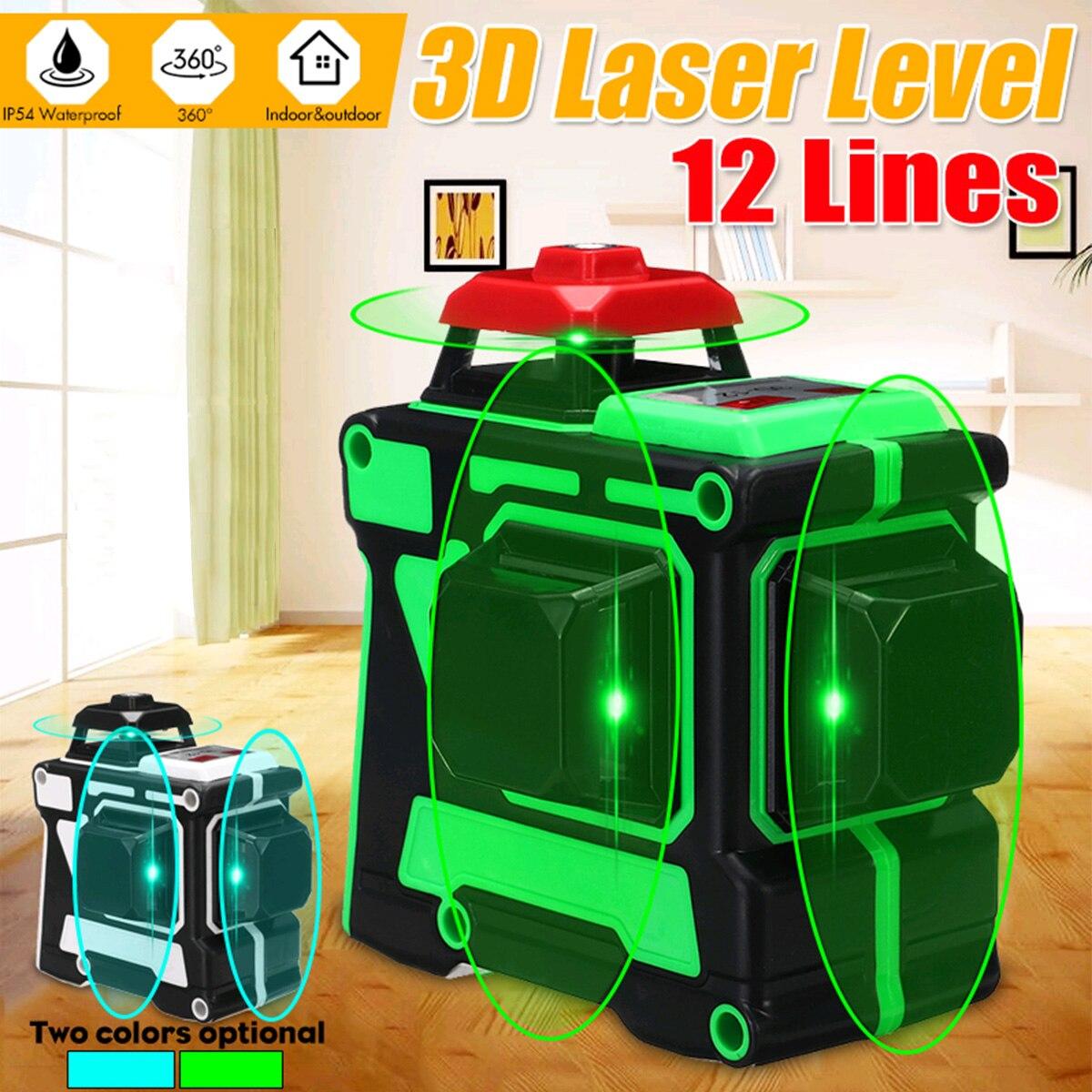 Лазерный уровень 12 линий 3D автоматический самонивелирующийся 360 горизонтальный и вертикальный крест супер мощный зеленый/синий лазерный л...