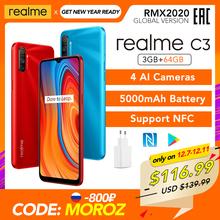 Realme C3 3GB RAM 64GB ROM wersja globalna NFC 5000mAh bateria Helio G70 AI procesor 12MP podwójny aparat fotograficzny AI HD + mini-upuść pełny ekran tanie tanio Nie odpinany CN (pochodzenie) Android Rozpoznawania linii papilarnych Do 200 godzin 16MP Adaptacyjne szybkie ładowanie