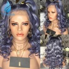 Smd cor roxa 13*6 parte dianteira do laço perucas de cabelo humano brasileiro remy peruca 150% densidade com o cabelo do bebê para preto preplucked