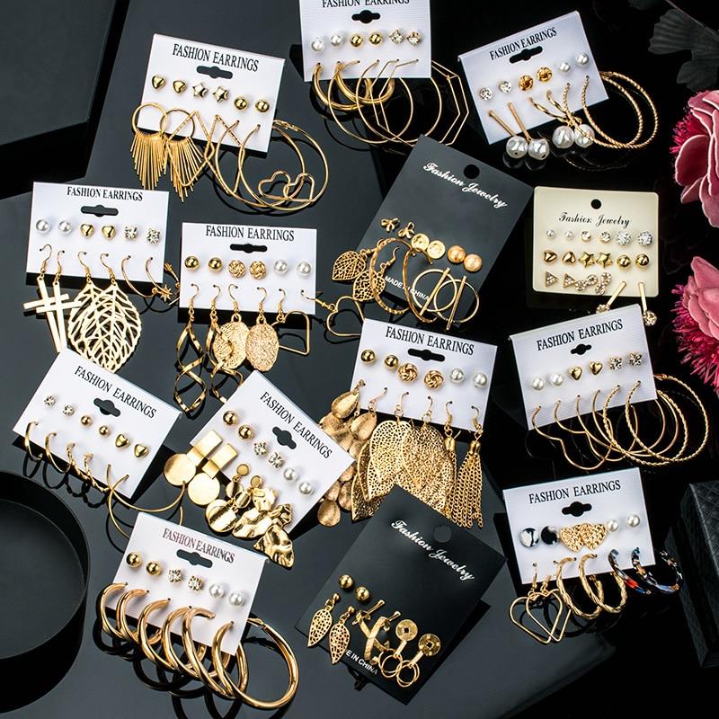 2020 New Fashion Women Earrings Set Acrylic Metal Earrings For Women Vintage Bohemian Gold Color Round Geometric Earring Jewelry