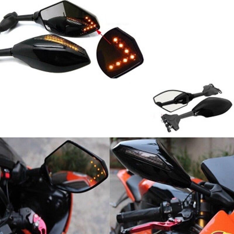 2 шт./пара мотоцикл Зеркало заднего вида с светодиодный поворотники заднего вида аксессуары для поездок на мотоцикле, модифицировать