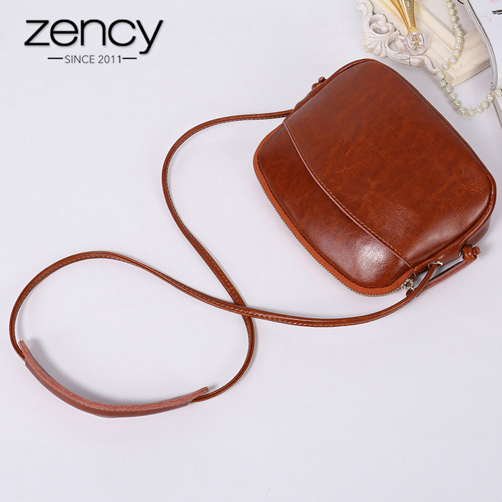 Zency Cute Women Messenger Bag 100% Genuine Leather Soft Skin Girls Shell Travel Handbag Elegant Shoulder Purse Lady Phone Bags