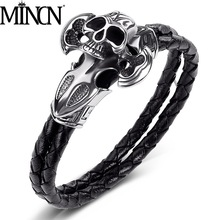 MINCN mens leather titanium steel punk bracelet braided rope cross sword skull stainless