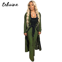 Echoine Autumn Winter Casual Stripe Long Sleeve Cardigan Coats Straight Wide Leg Pants 2 Two Piece Sets Red/Gold/Green with Belt