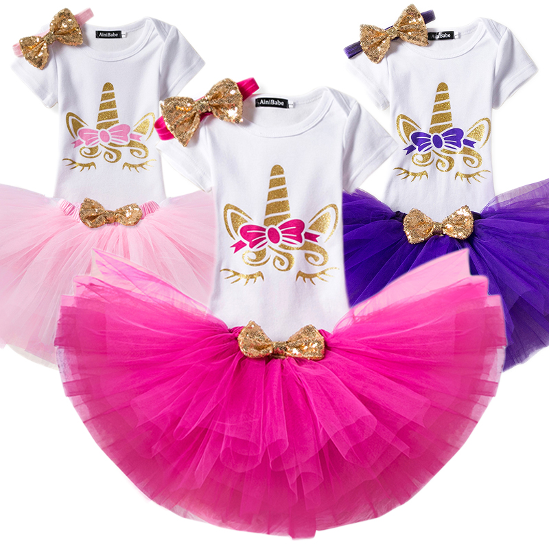 Summer Unicorn <font><b>Dress</b></font> for Girls 1 <font><b>2</b></font> Year Baby Girl <font><b>Birthday</b></font> <font><b>Dress</b></font> Cake Smash Outfits Infant Unicorn Costume Vestidos Infantil image