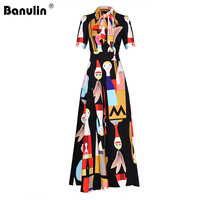 Runway Bow Tie Collar Cartoon Print Short Sleeve Jumpsuit Summer Women High Waist Wide Leg Full Length Rompers Overalls Playsuit