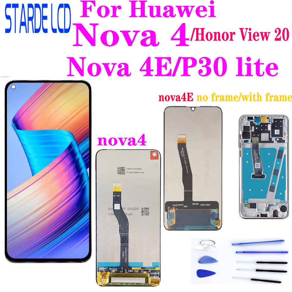 For Huawei Nova4 VCE-L22 AL00 TL00 <font><b>LCD</b></font> Display TouchScreen Digitizer with Frame for Honor View 20 / Nova 4E & <font><b>P30</b></font> lite <font><b>LCD</b></font> image