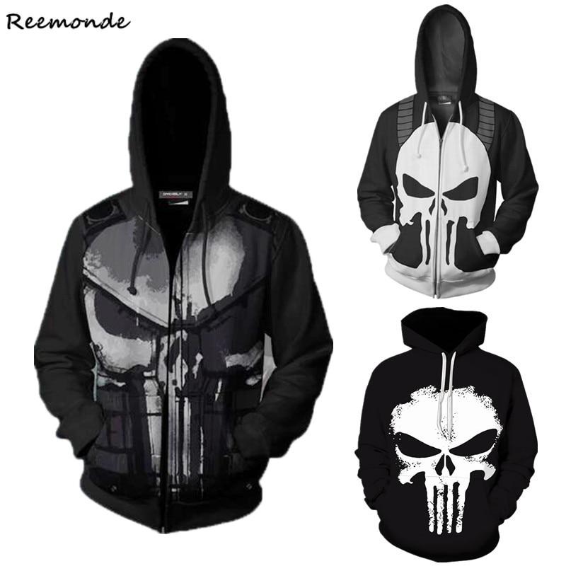 Skull Punisher Cosplay Hoodie Sweatshirt Top Coat Men Zipper Tracksuit For Boy Punisher Halloween Costume Punisher Skull Hoodie