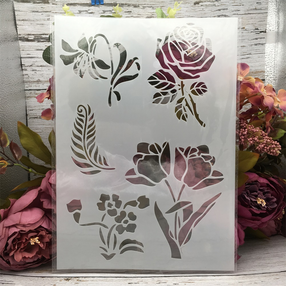 29*21cm A4 Rose Flower Illustration DIY Layering Stencils Wall Painting Scrapbook Coloring Embossing Album Decorative Template