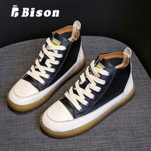 Bison High Top Shoes Women Spring Summer Flat Leather Canvas Female Tendon Bottom Fashion Soft Casual