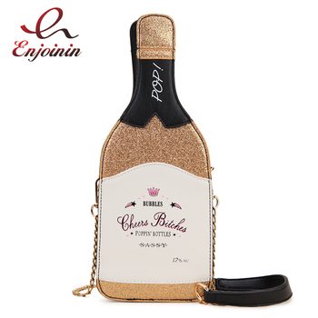 Fashion Golden Bottle Design Sequined Letters Female Shoulder Chain Bag Purses and Handbags Women Clutch Bag Leather Bolsas Bag fashion women s clutch bag with engraving and stitching design