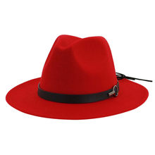 Unisex Wide Brim Panama Wool Felt Jazz Fedora Hats Belt Buckle Decor Women Trilby Cowboy Cap Sunhat #YL5(China)