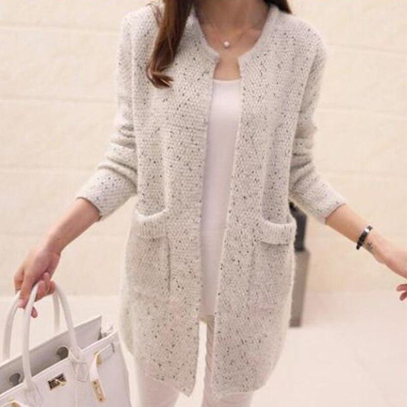 Femmes automne vêtements d'extérieur de cardigan 2019 tricoté Mohair femme Long pull 6 couleurs deux poches dames Cardigans