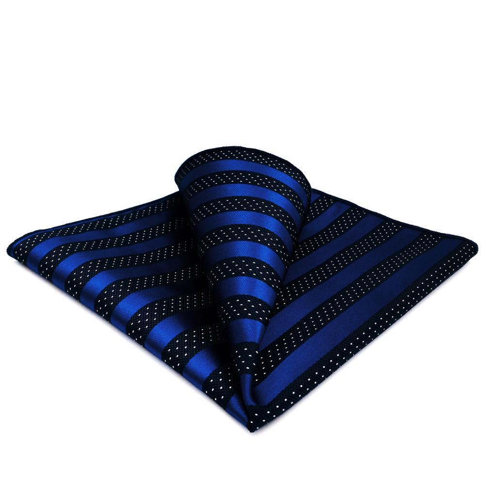 GH06 Blue Black Striped Mens Pocket Square Classic Groom Handkerchief Business Fashion Hanky