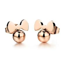 Titanium steel Earrings Stud Women Girls Kids Wearing Mini Cartoon Animal Ear Studs