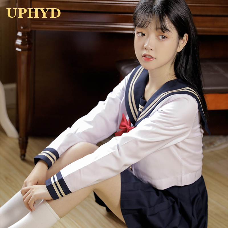 UPHYD Japanese Sailor Suit Navy Preppy Style School Girls Uniforms Top And Skirt With Bowknot S-2XL