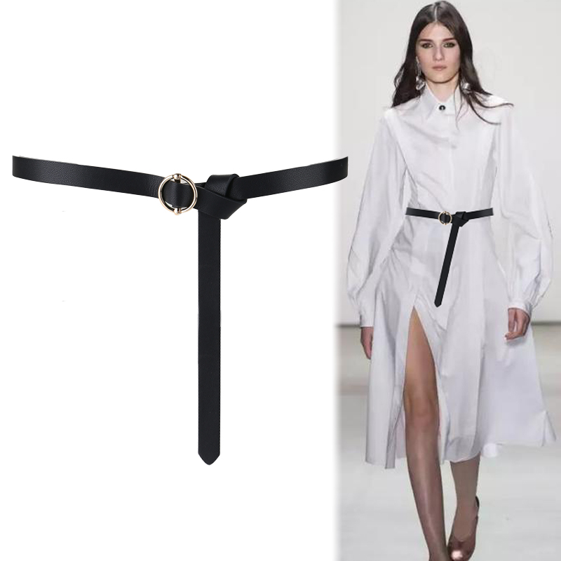 Gold Round Buckle Long Thin Belts No Pin Alloy Buckles Belt Genuine Leather Black Knot Strap Women Dress Decorate Gifts Jeans