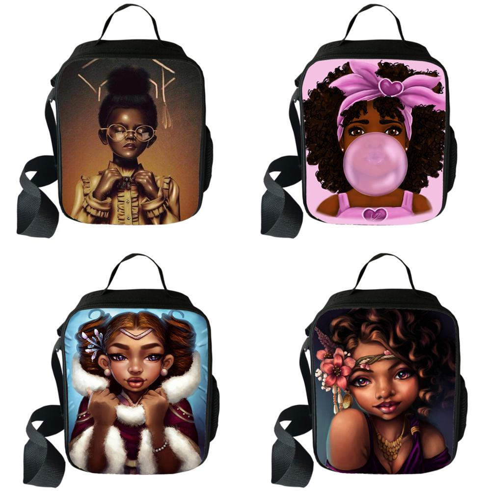 Cute Afro Girs Princess Print Lunch Box Africa American Brown Girl Portable Lunch Bag  Lunch Container School Food Storage Bags