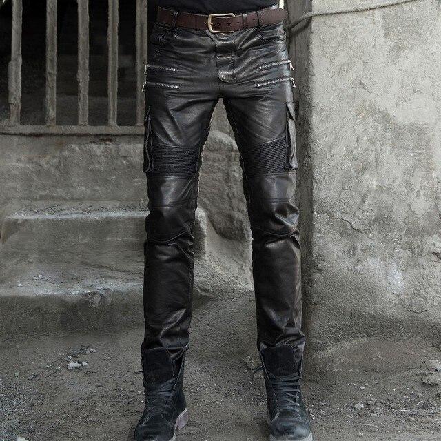 Men's autumn winter sheepskin leather leather pencil pants multi bag tactical pants Leather Motorcycle cut narrow pants pants 2