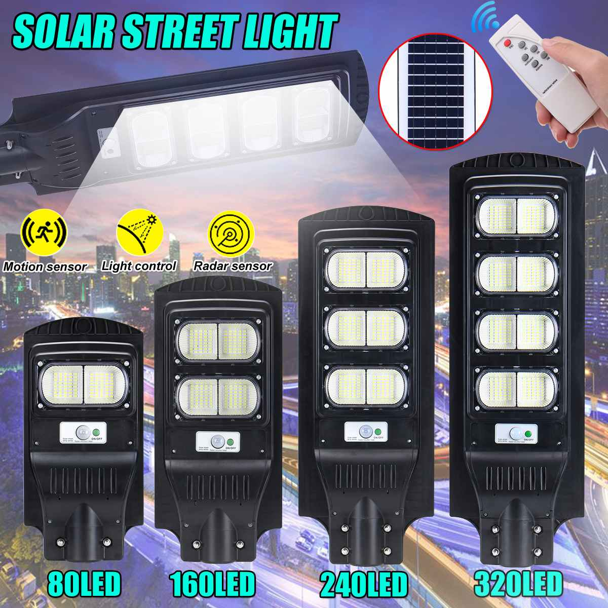 Polycrystalline Solar Led Street Light Infrared Motion Wall Light Sensor 200/300/400/800W Outdoor Lighting Garden Lamp Led Light