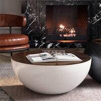 80 см скандинавский круглый стол Современная Чаша Дизайн чайный журнальный столик большая емкость для хранения упрочненная со стеклянным в