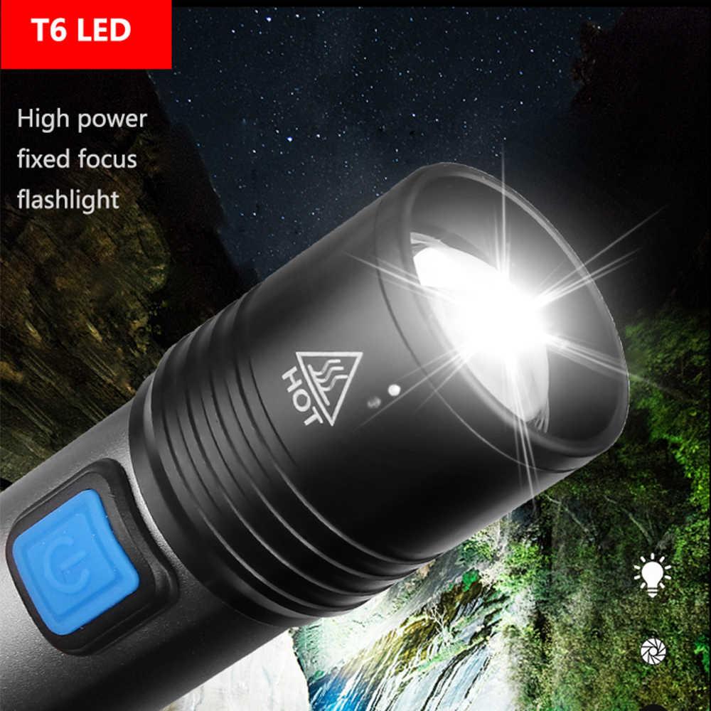6000lm lanterna usb recarregável lanterna tocha à prova dt6 água t6 led lanterna portátil zoom com bateria embutida