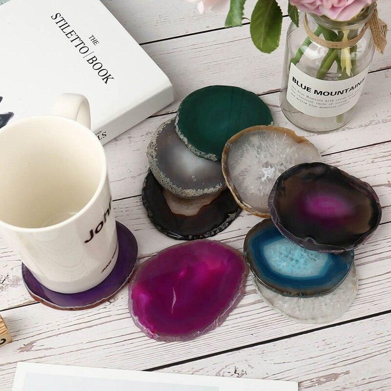 1Pcs Irregular Gems Crafts Stone Pad Semi   Agate Slice Coaster Cup Mug Glass Drink Holder Druzy Quartz Geode Table Onyx Mat