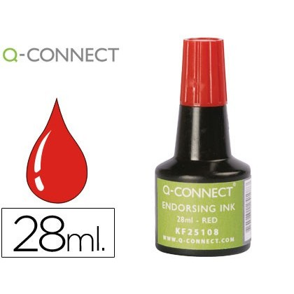 INK TAMPON Q-CONNECT RED-FLASK 28 ML