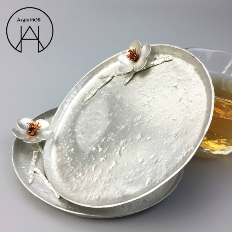 Handmade Pure Tin Anti-scalding Coaster Three-dimensional Plum Insulation Pad Kung Fu Tea Cup Saucer Creative Snack Dish