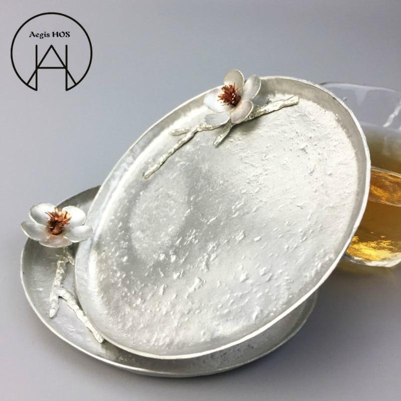 Handmade Pure Tin Anti-scalding Coaster Three-dimensional Plum Insulation Pad Kung Fu Tea Cup Saucer Creative Snack Dish