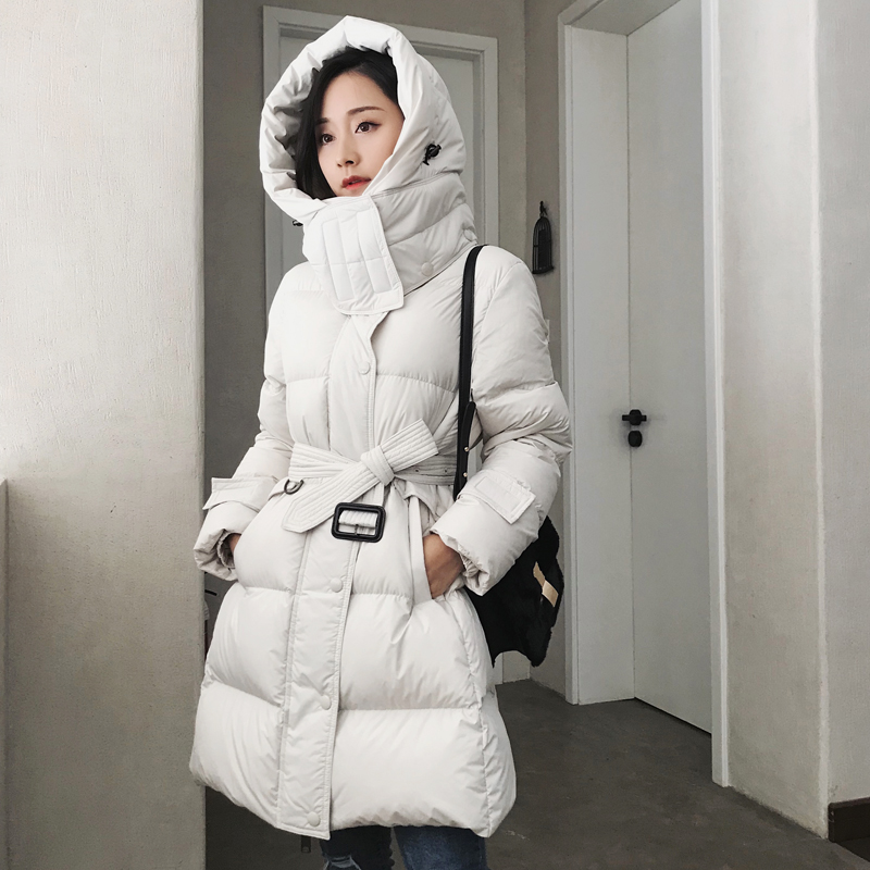 90% White Duck Down Jacket 2019 Winter Jacket Women Black White Female Down Coat Slim Hooded Women Thick Warm Long Down Parka