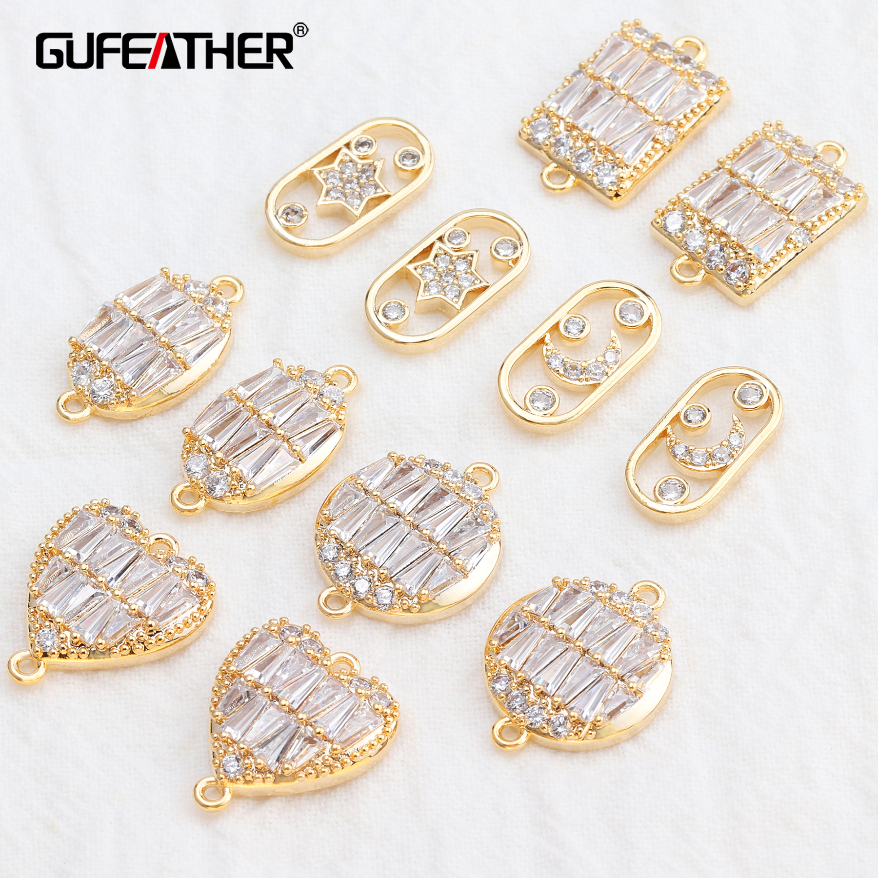 GUFEATHER M541,jewelry Accessories,18k Gold Plated,zircon,hand Made,jewelry Findings,diy Accessories,jewelry Making,10pcs/lot